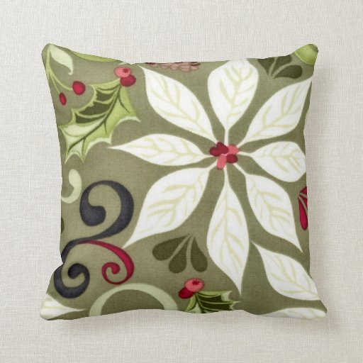 Throw Pillow Design Patterns : Christmas Floral Pattern Throw Pillow Zazzle