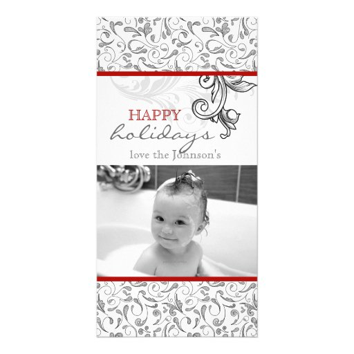 Christmas Floral Photo Card Red White Black