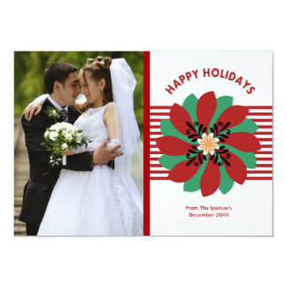 Christmas Floral Photo Holiday Card