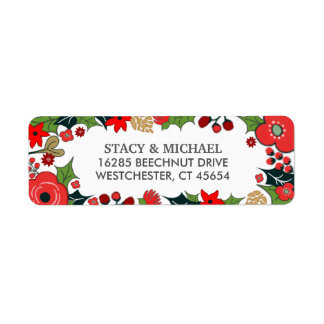 Christmas Floral Red & Green Wedding Address Label