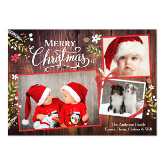 Christmas Floral Ribbon Collage Brown Card