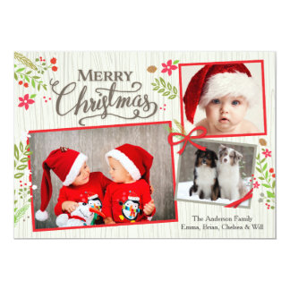 Christmas Floral Ribbon Collage White Card