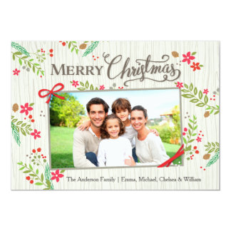 Christmas Floral Ribbon White 5x7 Paper Invitation Card