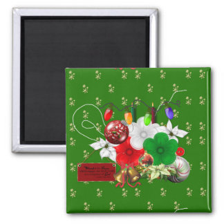 Christmas Floral Scrappy Pieces 2 Inch Square Magnet