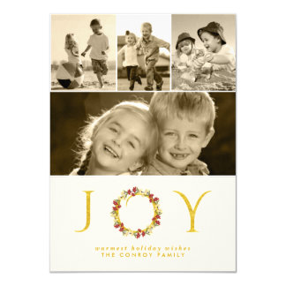 Christmas Floral Wreath Gold Glitter Photo Collage 4.5x6.25 Paper Invitation Card