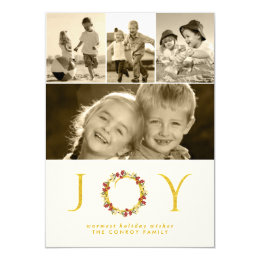 Christmas Floral Wreath Gold Glitter Photo Collage Card