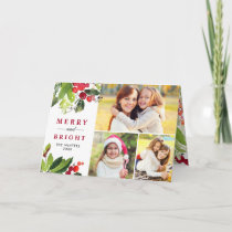 Christmas Florals | Watercolor Photo Collage Holiday Card