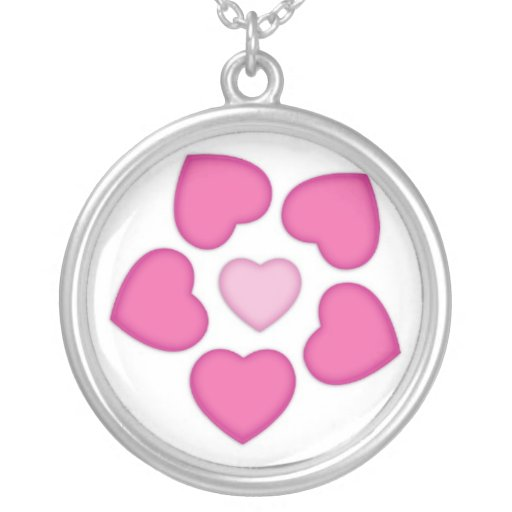 Christmas Flower Heart Round Pendant Necklace