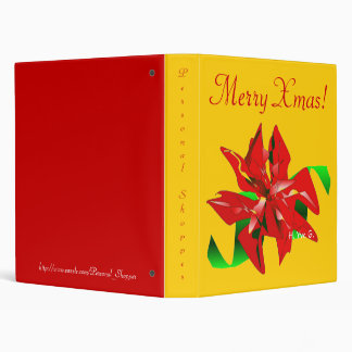 Christmas Flower In Gold And Red Binder