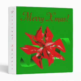 Christmas Flower In Green And Red 3 Ring Binder