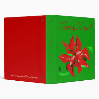 Christmas Flower In Green And Red I 3 Ring Binder