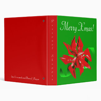 Christmas Flower In Green And Red IV 3 Ring Binder