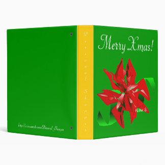 Christmas Flower In Green VIII 3 Ring Binder
