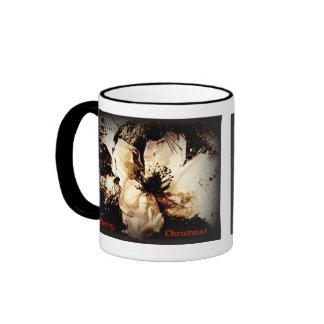 Christmas flower in sepia mug
