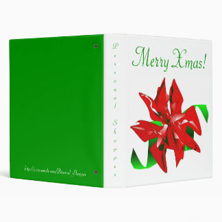 Christmas Flower In White And Green I 3 Ring Binder