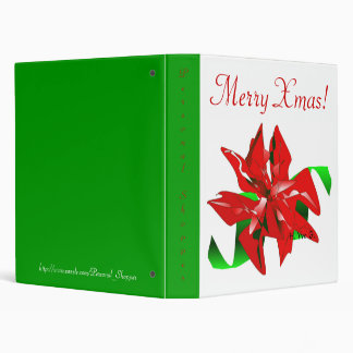Christmas Flower In White And Green II 3 Ring Binder