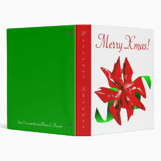 Christmas Flower In White And Green IV 3 Ring Binder