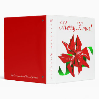 Christmas Flower In White And Red 3 Ring Binder