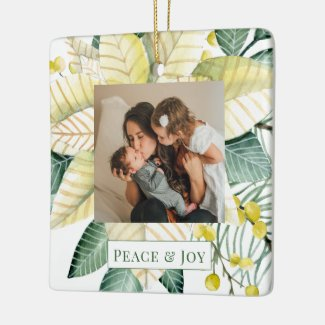 Christmas Flower Peace And Joy Holiday Photo Ceramic Ornament