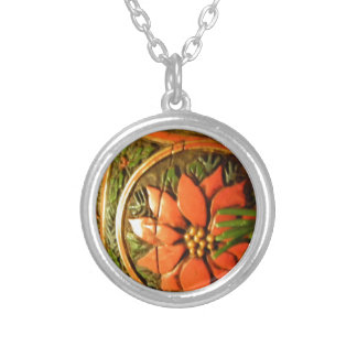 Christmas Flower Round Pendant Necklace