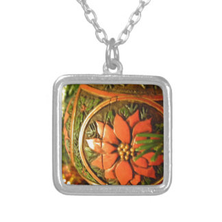 Christmas Flower Square Pendant Necklace
