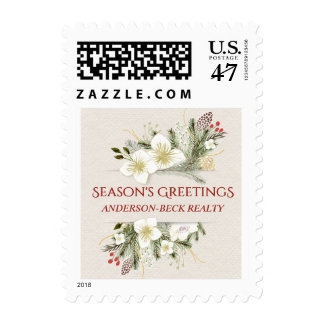 Christmas Flowers Corporate Business Holiday Postage