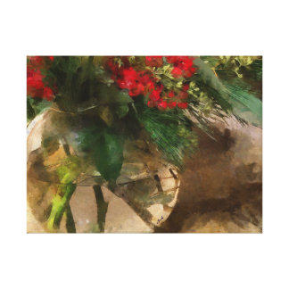 Christmas Flowers Red Green Glass Vase Art Canvas