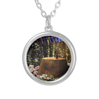Christmas Flowers Round Pendant Necklace