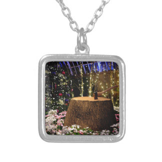 Christmas Flowers Square Pendant Necklace