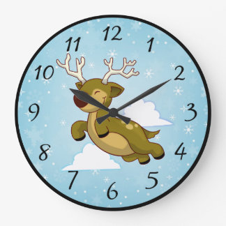 Christmas Flying Reindeer with Snowflakes Large Clock