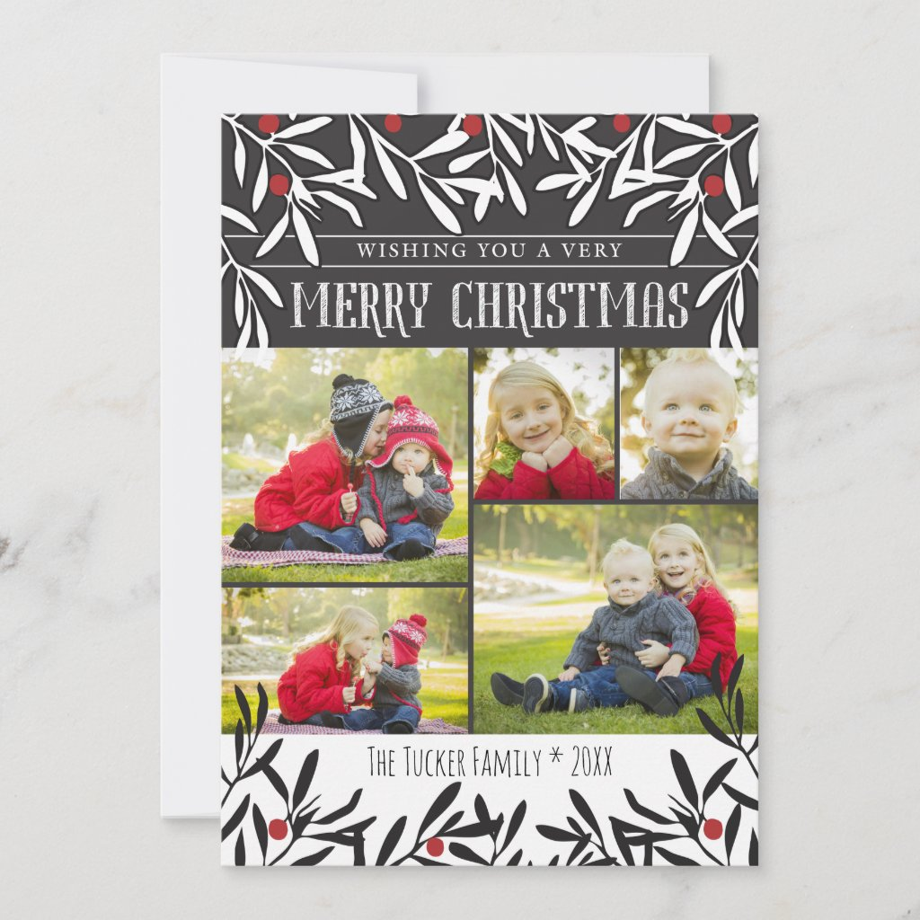 Christmas Foliage Photo Card, Black White Red Holiday Card