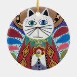 Christmas Folk Art Ornament Cat Angel