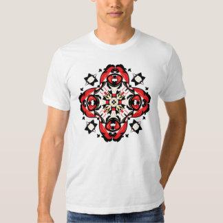 Christmas Folk Art Symbol Red and Black T Shirt