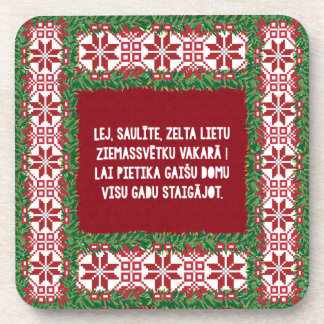 Christmas Folk Song III Latviesu Tautasdziesma Beverage Coaster