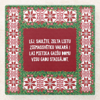 Christmas Folk Song III Latviesu Tautasdziesma Glass Coaster
