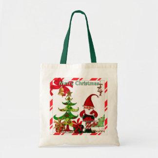 Christmas Folk Whimsey GIFT Budget Tote Bag