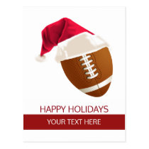 Christmas football Ball Santa Hat postCards