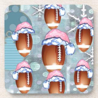 CHRISTMAS FOOTBALLS BEVERAGE COASTERS