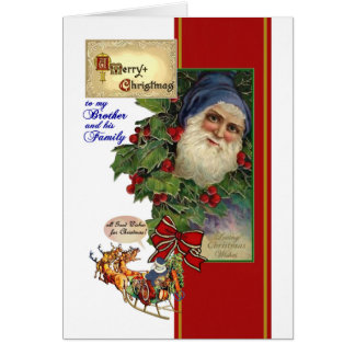 Christmas for Brother & his Family - Vintage Santa Greeting Card