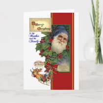 Christmas for Brother & his Family - Vintage Santa Holiday Card