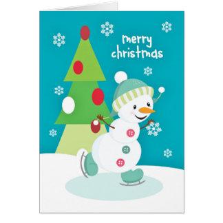 Christmas for Kids Ice Skating Snowman Card
