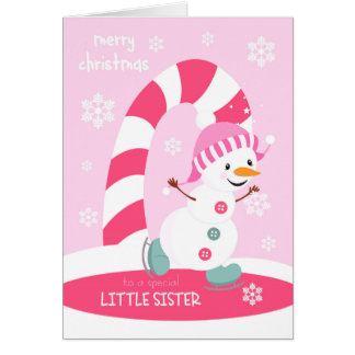 Christmas for Little Sister Ice Skating Snowman Greeting Card