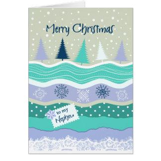 Christmas for Nephew - Snowflakes, Fir Trees Card