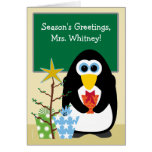 Christmas for Teacher Cute Penguin in Classroom Greeting Card