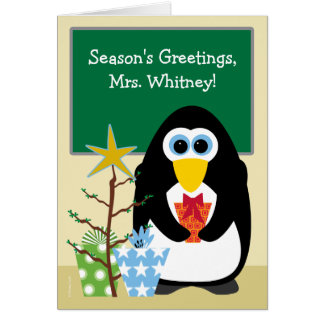 Christmas for Teacher Cute Penguin in Classroom Card