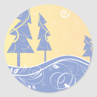 Christmas forest classic round sticker