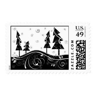 Christmas Forest Postage Stamps