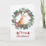 """Christmas Fox Card<br><div class=""""desc"""">A cute fox sits in a Christmas wreath over a shiplap background. Front reads Merry Christmas. Inside of card reads """"Wishing you a Merry Christmas and a Happy New Year"""" (Can be customized with a couple of clicks)</div>"""