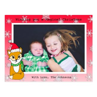 Christmas Fox Cute Personalized Photo Card