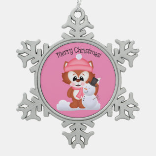 Christmas Fox Holiday Pewter Snowflake Ornament at Zazzle